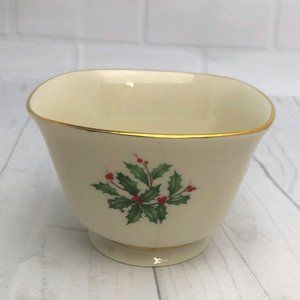 Lenox Holiday Square Holly Berry Candy Nut Dish